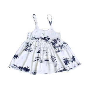 R21-D290 (White Map), Girls Rayon Sundress