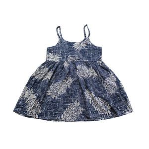 R21-D517N (Vintage navy pineapple), Girls Rayon Sundress