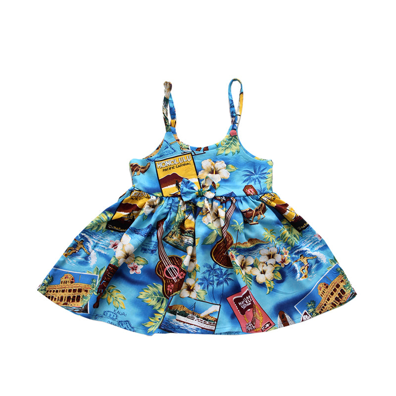 R21-D9257 (Blue paradise), Girls Rayon Sundress