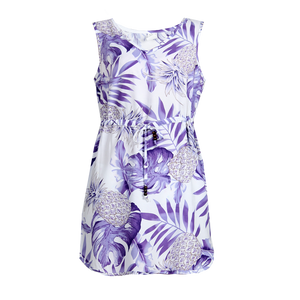 R91-D9936 (Pastel purple leaf), Ladies Aloha Dress 100% Rayon