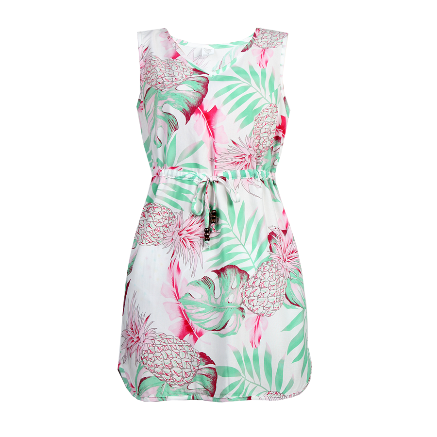 R91-D9945 (Pastel pink leaf), Ladies Aloha Dress 100% Rayon