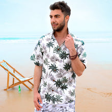 Load image into Gallery viewer, C90-A885 (Off white floral), Men 100% Cotton Aloha Shirt