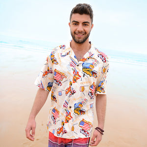 C90-A1794 (Beige route 66), Men 100% Cotton Aloha Shirts.