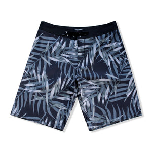 N90-B8066 (Monstera full-onyx), Men Microfiber Boardshorts- (4-way stretch)
