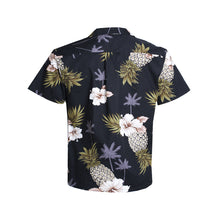 Load image into Gallery viewer, C90-A1707 (Black pineapple), Men 100% Cotton Aloha Shirts.