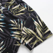 Load image into Gallery viewer, C90-A7056 (Black with gray green leaf), Men 100% Cotton Aloha Shirts.