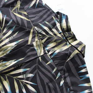 C90-A7056 (Black with gray green leaf), Men 100% Cotton Aloha Shirts.
