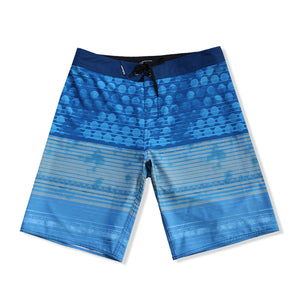 N90-B8262 (Spherical even-cerulean), Men Microfiber Boardshorts- (4-way stretch)