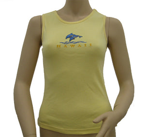 K9-MU551ED (Yellow Embroidery Dolphin) , 100% Knit Cotton Mussel Tank Top