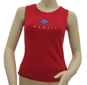 K9-MU591ED (Red Embroidery Dolphin), 100% Knit Cotton Mussel Tank Top