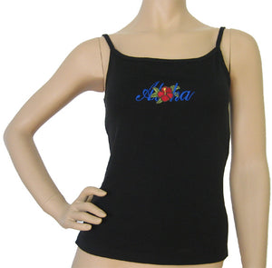 K9-SP511BEA (Black Embroidery Aloha), 100% Knit Cotton Single strap Tank Top