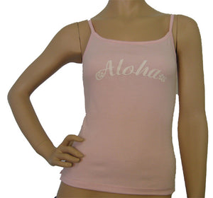 K9-SP531A (Pink Aloha), 100% Knit Cotton Single strap Tank Top