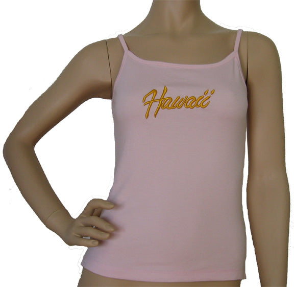 K9-SP531EH (Pink Embroidery Hawaii), 100% Knit Cotton Single strap Tank Top