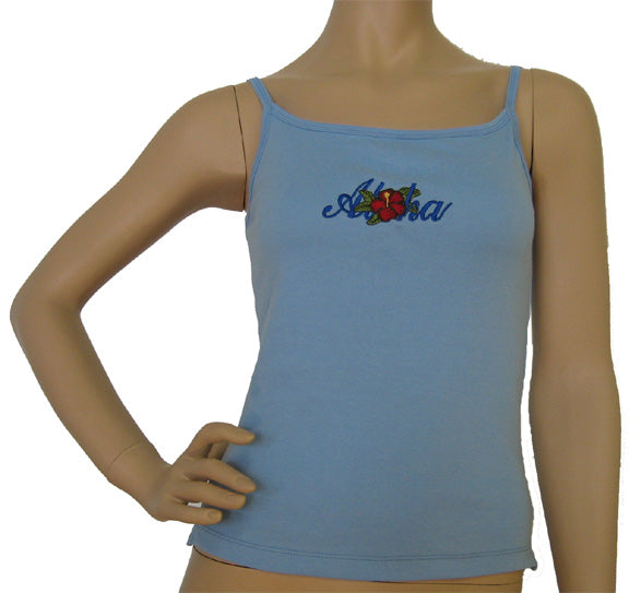 K9-SP533EA (Baby Blue Embroidery Aloha), 100% Knit Cotton Single strap Tank Top