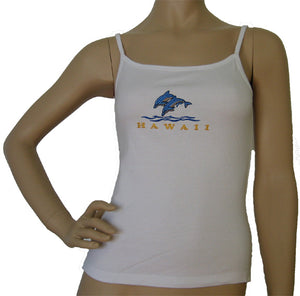 K9-SP561ED (White Embroidery Dolphin), 100% Knit Cotton Single strap Tank Top