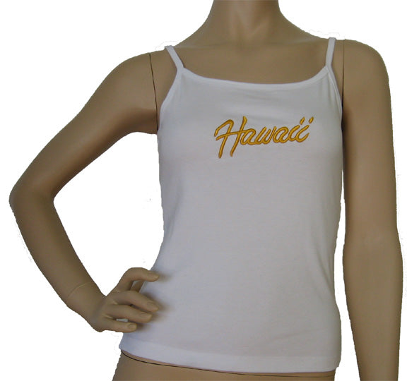 K9-SP561EH (White Embroidery Hawaii), 100% Knit Cotton Single strap Tank Top