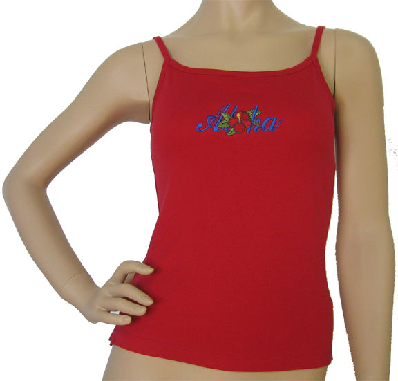 K9-SP591EA (Red Embroidery Aloha), 100% Knit Cotton Single strap Tank Top
