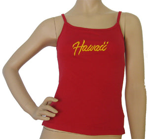 K9-SP591EH (Red Embroidery Hawaii), 100% Knit Cotton Single strap Tank Top