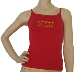 K9-SP591EP (Red Embroidery Palmtree), 100% Knit Cotton Single strap Tank Top