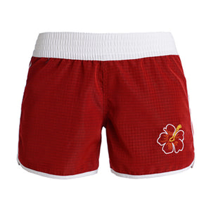 N91-W1498 (Burgundy solid with rainbow design), Ladies 100% Microfiber Walk Shorts