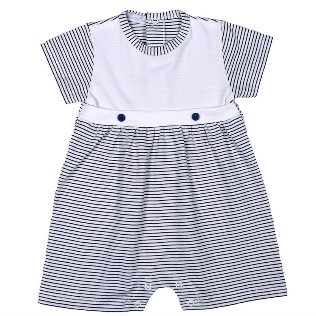 Navy Blue Stripes Pima Romper