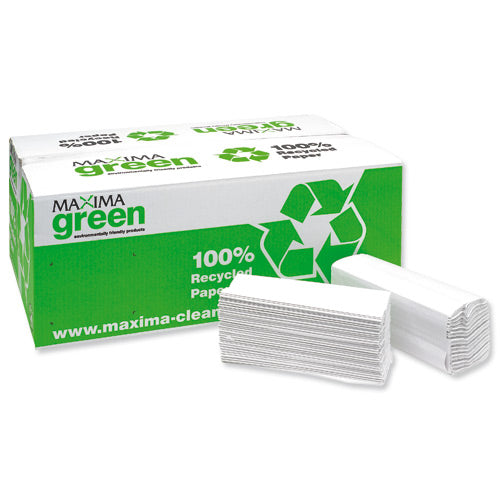 Maxima Green Two Ply C-Fold Hand Towels White 15x160's