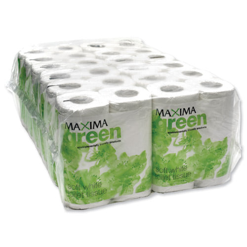 Maxima Green 2-Ply White Toilet Roll 200 Sheet (Pack of 48)