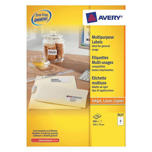 Avery White Multifunctional Labels 8 per Sheet 105x74mm White Ref 3427 [800 Labels]