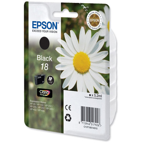 Epson Daisy T1811 18 Black Inkjet Cartridge Code C13T18014010