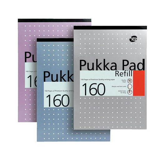 Pukka Pads Refill Pad Headbound Ruled with Margin Punched 80gsm 160pp A4 White Ref REF80/1 [Pack 6]