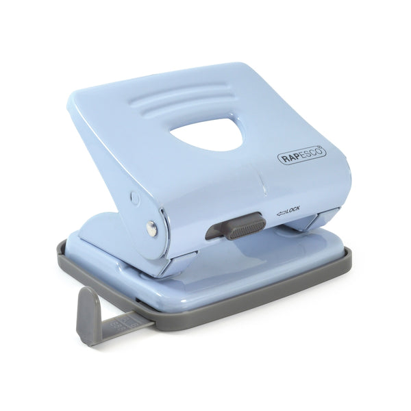 Rapesco 825 (25 Sheet Capacity) 2 Hole Metal Punch (Powder Blue)