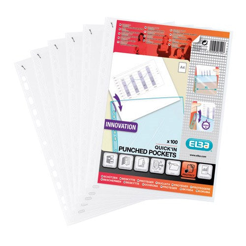 Elba Heavy Duty Quick-in Punched Pockets / Polypropylene / A4 / Clear / Pack of 100