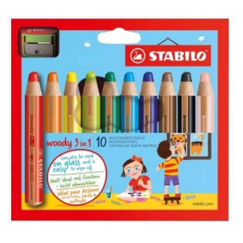 Stabilo Woody 3in1 Pencils With Sharpener Pack 10's (10472ST)