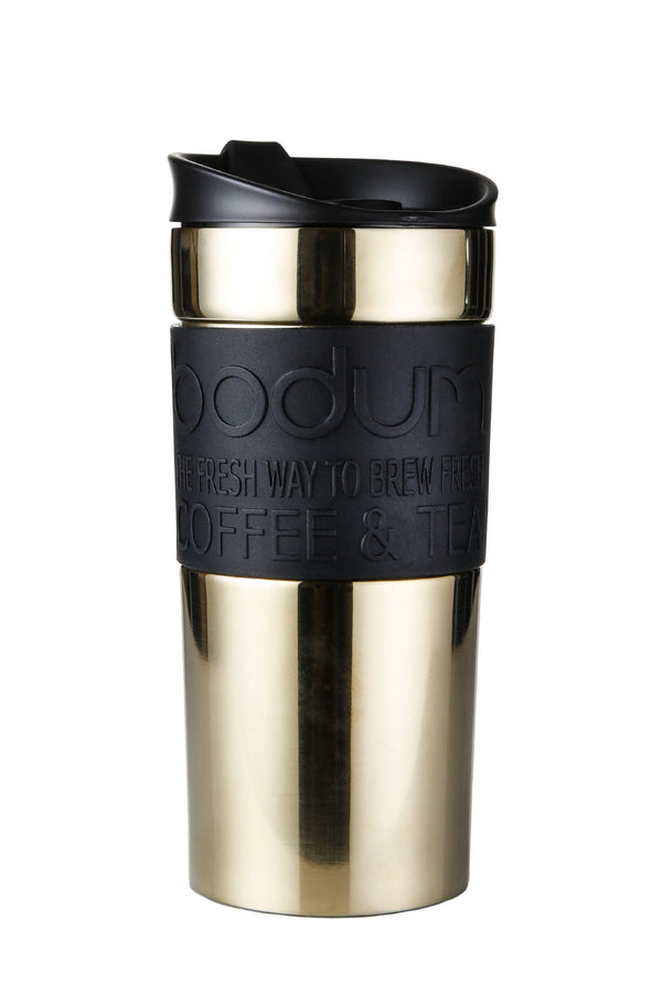 Bodum Black & Gold Stainless Steel Travel Mug 0.35 Litre