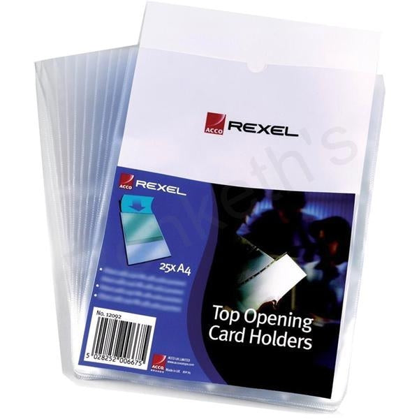 Rexel Card Holder Top Opening Wipe-Clean A4 12092 (PK25)