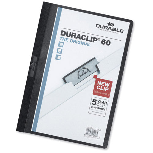 Durable Duraclip Folder PVC Clear Front 6mm Spine for 60 Sheets A4 Black