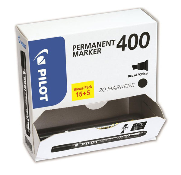 Pilot 400 Black Permanent Marker Pack 20