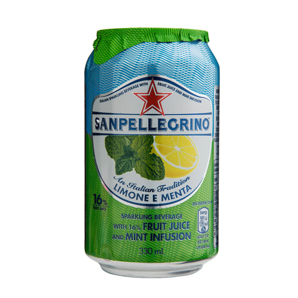 San Pellegrino Limone Menta (Lemon & Mint) Cans 24x330ml