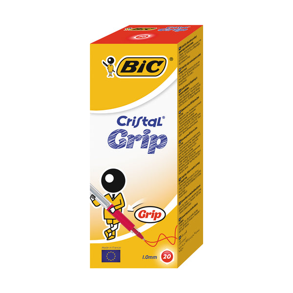 BIC Cristal Grip Pen Red (Pack of 20)