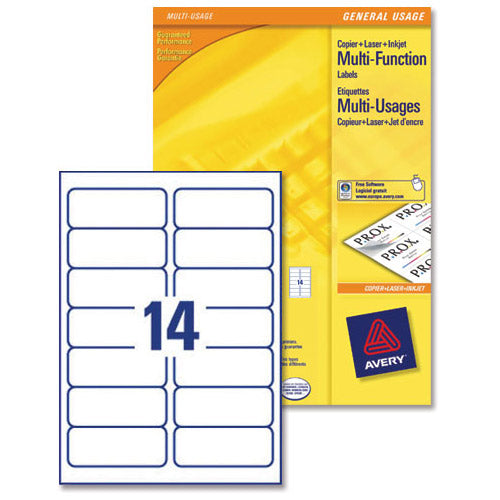 Avery White Multifunctional Labels 14 per Sheet 105x42.3mm White Ref 3653 [1400 Labels]