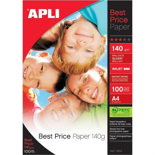 Apli A4 140gsm Glossy Photo Paper 100 Sheets