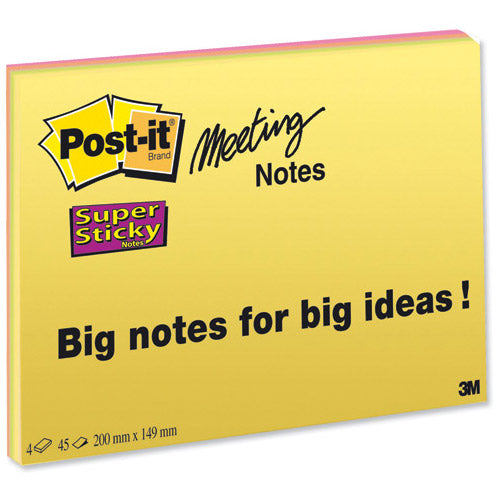 Post-it Notes Bright Colours 200x149mm Pack 4's