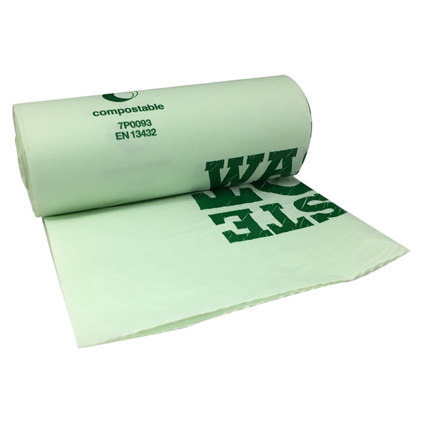 Compostable Biodegradable Food Waste 10 Litre Bin Liner Bags Roll (20 Bags)
