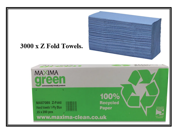 Maxima Z-Fold 1 Ply Blue Hand Towels 15 x 200's {3000}