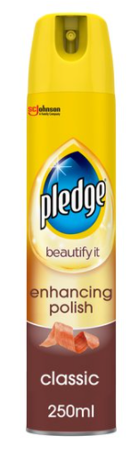 Pledge Classic Enhancing Wood Polish 250ml Fast & Easy Shine