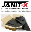 "Janit-X Medium Duty Black Bin Refuse Sack x 200 (450 x 720 x 950mm 18 x 28 x 37"")"
