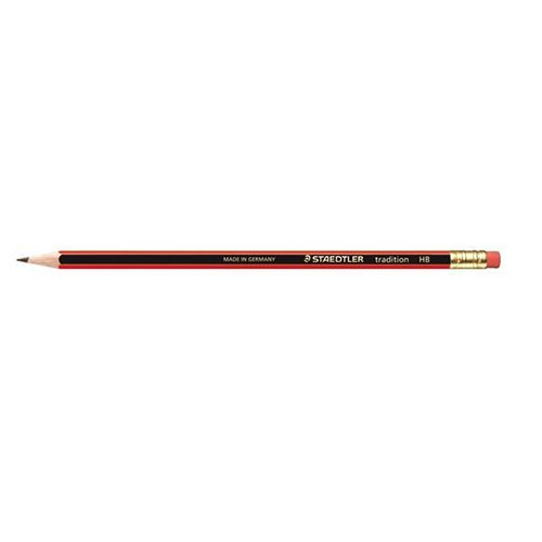 Staedtler 110 Tradition Pencil Cedar Wood with Eraser HB Pack 12 Code 112HBRT