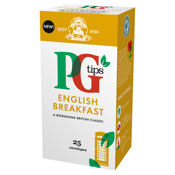 PG Tips English Breakfast Enveloped Tea Bags 25s (Full Pack 6's)
