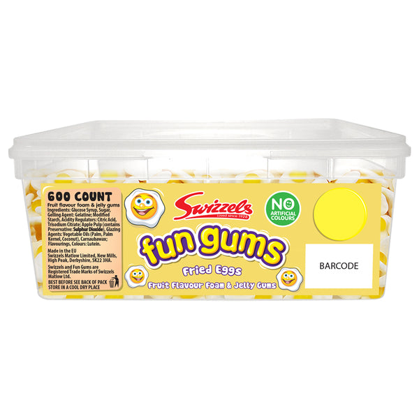 Swizzels Fun Gums Fried Eggs Sweets Tub 600