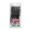 Uniball Pin Ultra Fine Drawing Pens Assorted Tip Black Pack 5's